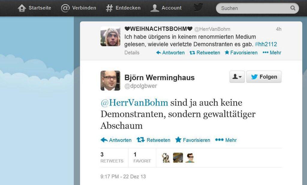 NUR ALS ZITAT Twitter/ Werminhaus/ Demo Hamburg