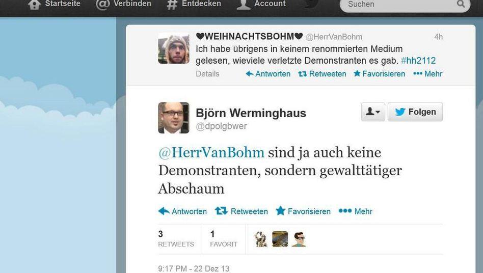 Screenshot: Tweet von Björn Werminghaus zu den Auschreitungen in Hamburg