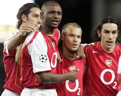 Jubelnde Arsenal-Spieler