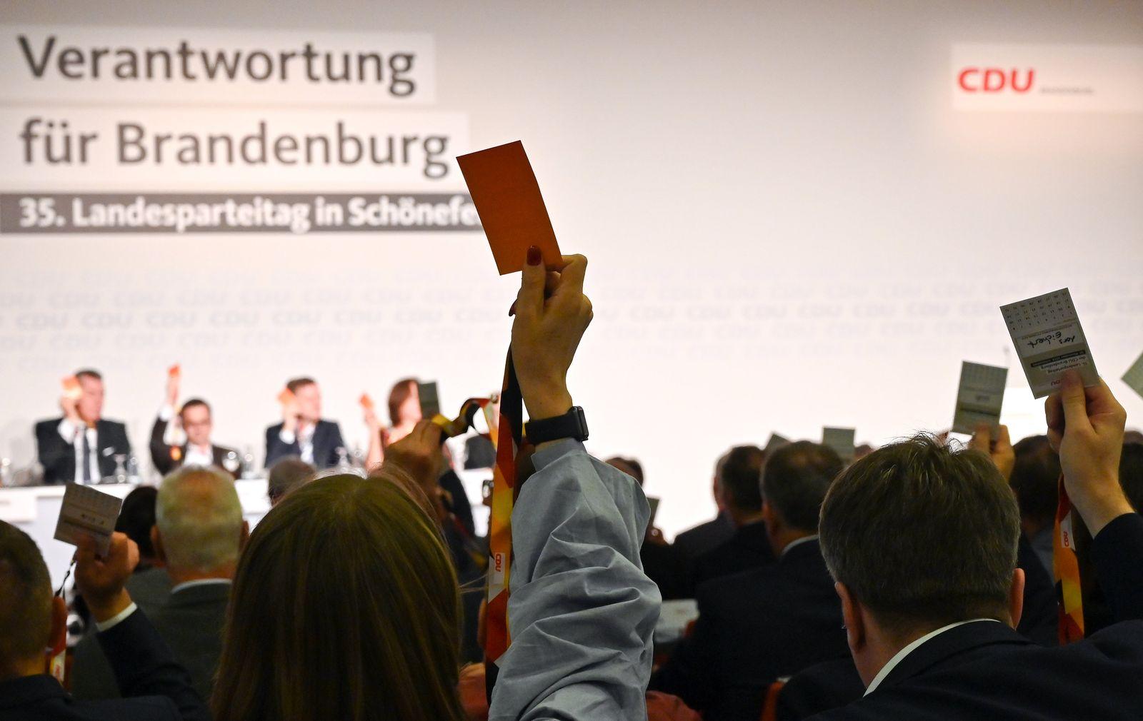 Parteitag der CDU Brandenburg mit Koalitionsentscheidung