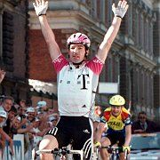 Bert Dietz, and Telekom, in better days: winning a stage of the Course de la Paix in 1998.