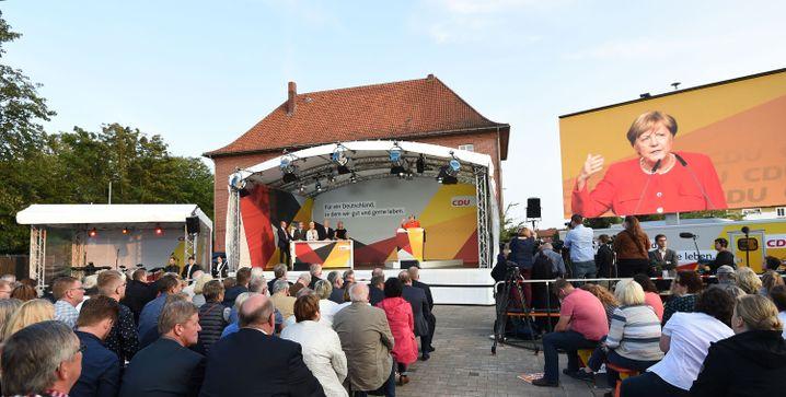 German Chancellor Angela Merkel on the campaign trail.