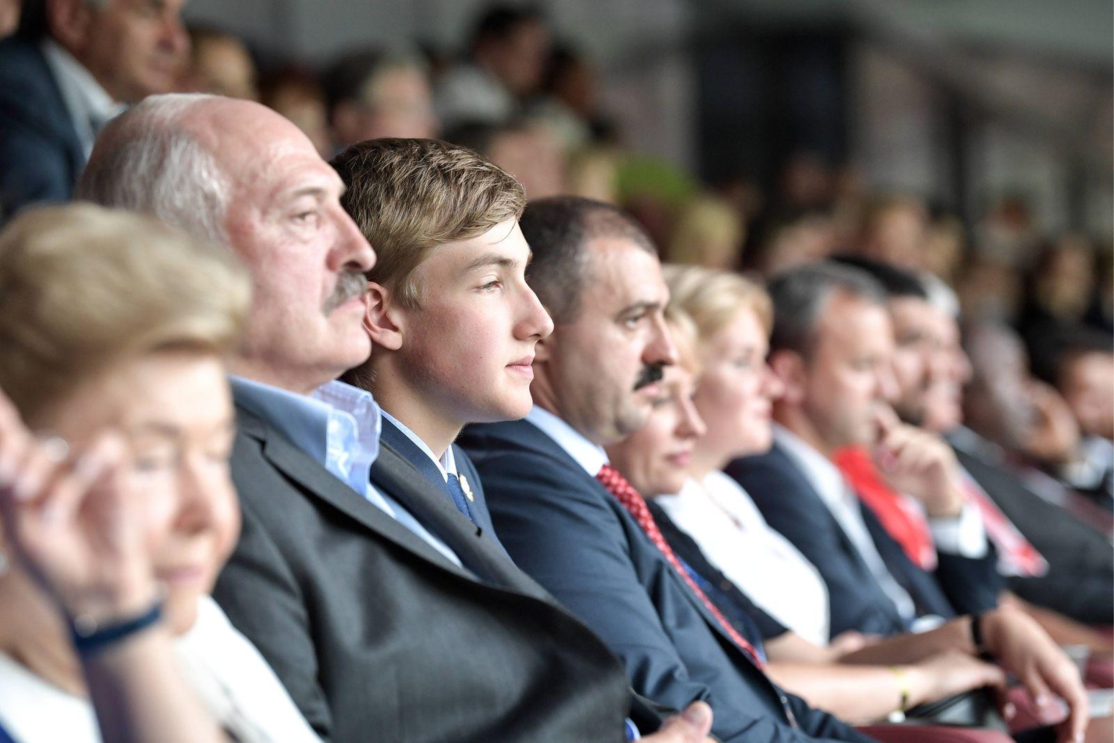 MOSCOW RUSSIA JULY 15 2018 Boris Yeltin s widow Naina Yeltsina L and the President of Belar