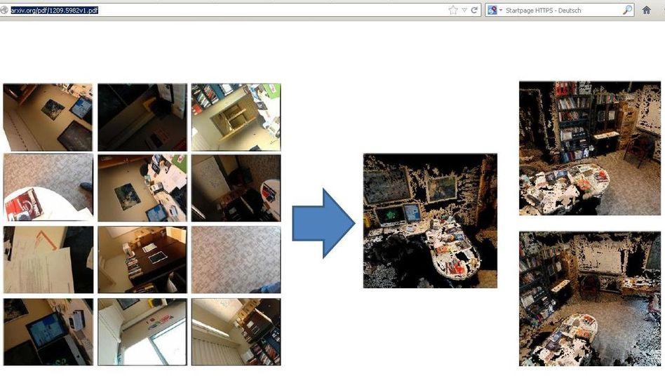 PlaceRaider: Das Programm errechnet aus Einzelfotos 3-D-Panoramen zur Auswertung