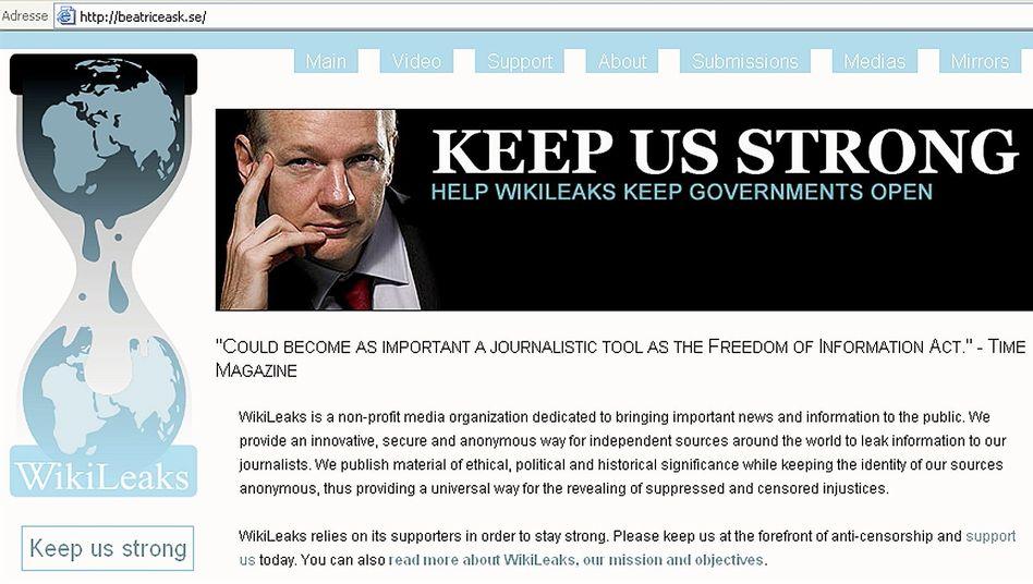 Screenshot der Wikileaks-Seite (2010): Deutsche Spenden nicht gemeinnützig