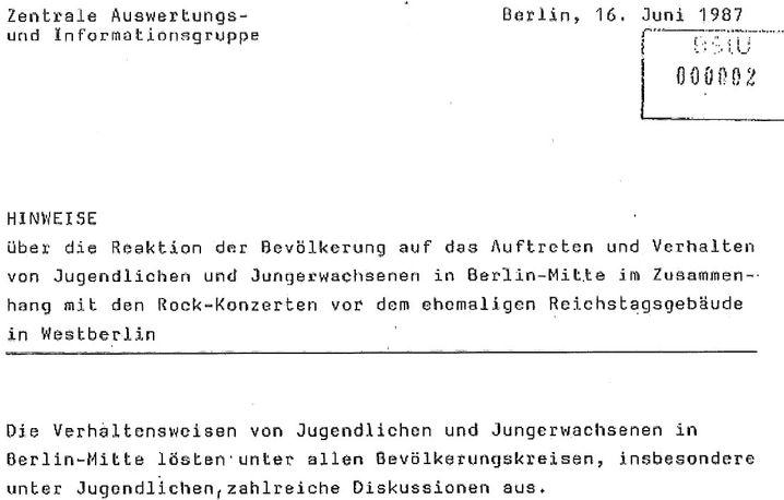 Stasiakte über die Pfingstunruhen 1987 als PDF.