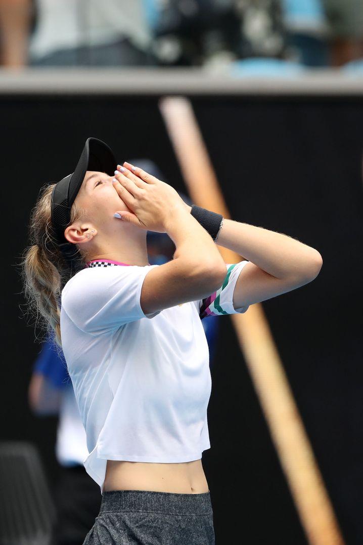 Amanda Anisimova nach ihrem Erfolg über Aryna Sabalenka