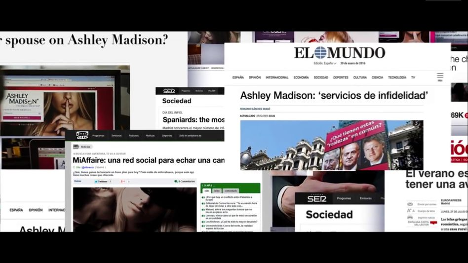 """Screenshot aus """"Smarttress""""-Werbeclip: Überall steht Ashley Madison"""