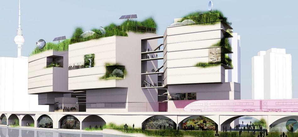 Geplantes Technologiezentrum mit Künstlerateliers und Studentenwohnheim (Modell)