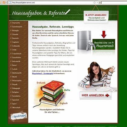 Hausaufgaben-Seite: Im Internet lauern Fallstricke