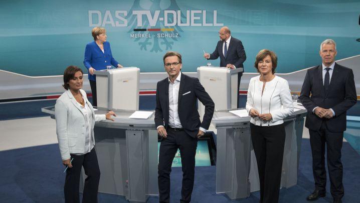 Angela Merkel vs. Martin Schulz: Dröges Duell