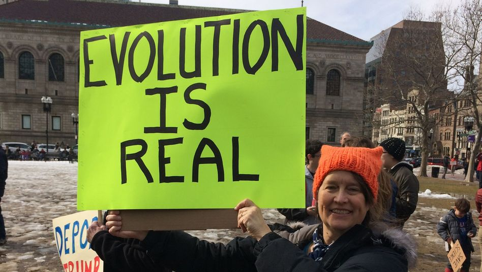 Abby Hafer auf einer Demonstration in Boston