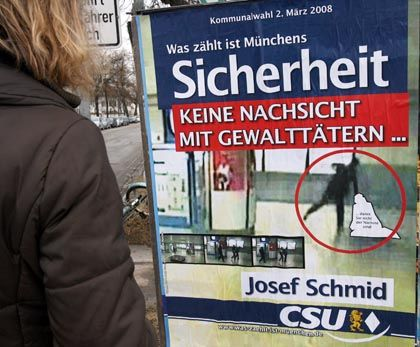 This campaign poster in Munich has upset many in the Bavarian capital.