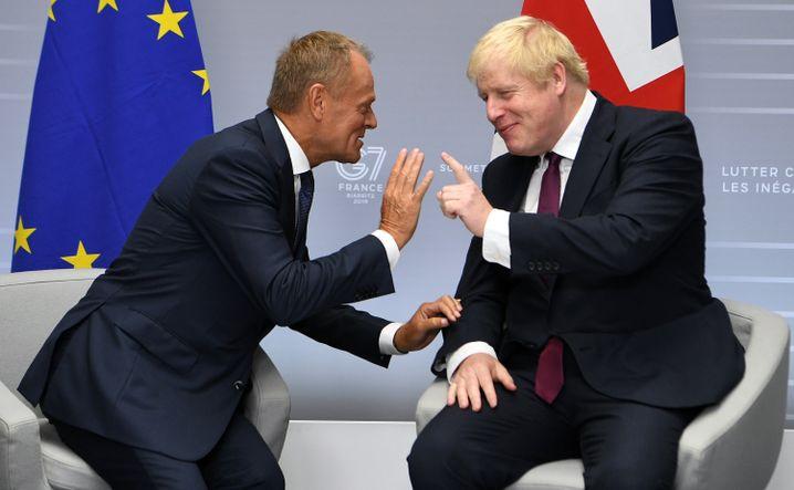 Donald Tusk (l.) und der britische Premierminister Boris Johnson