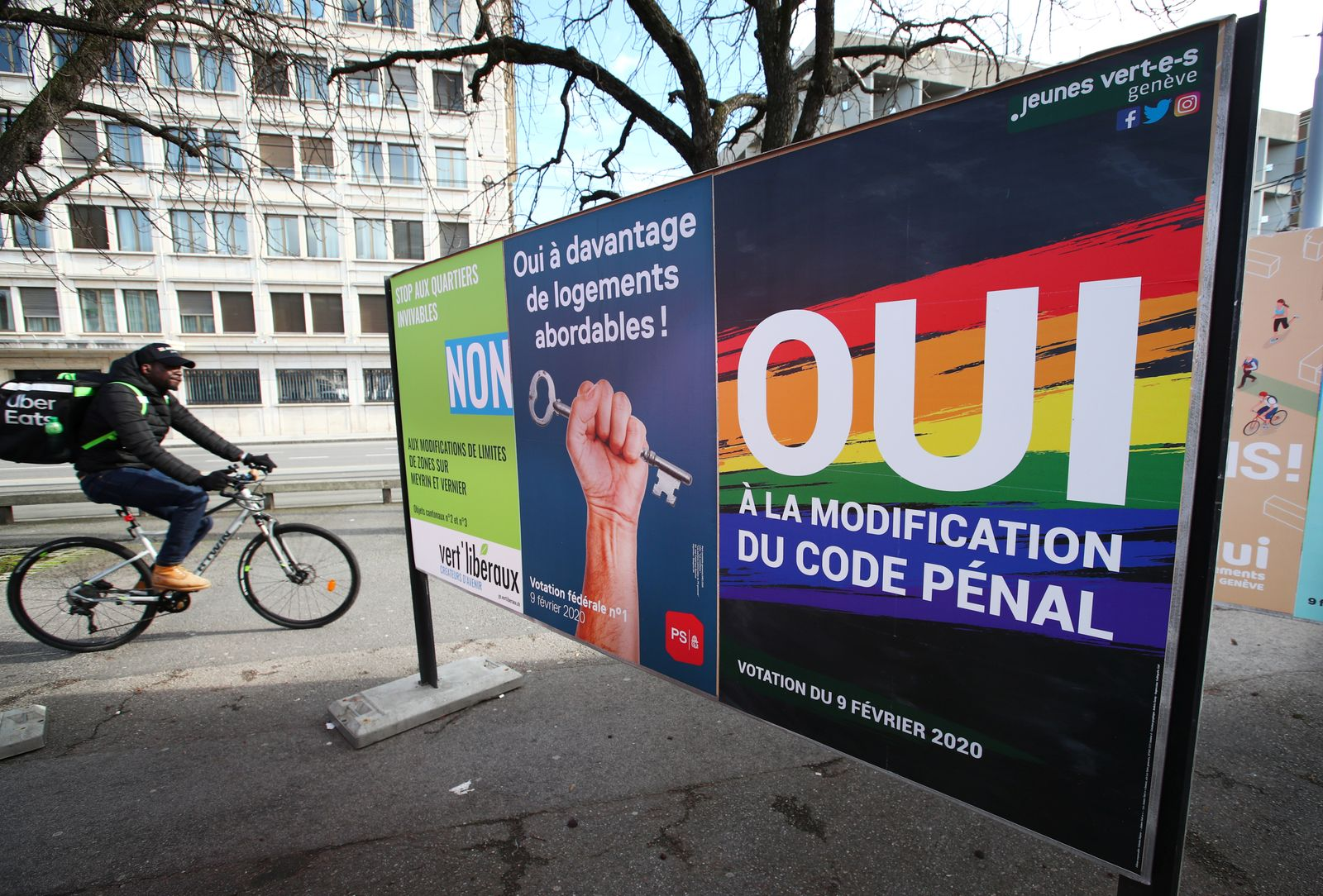 A poster in favour of the change of the penal code is pictured ahead of a referendum on anti-homophobia law in Geneva