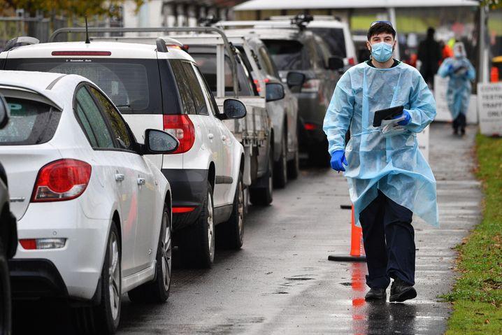 Testzentrum in Melbourne, Victoria: Rund 44.000 Menschen wurden in den letzten 24 Stunden getestet