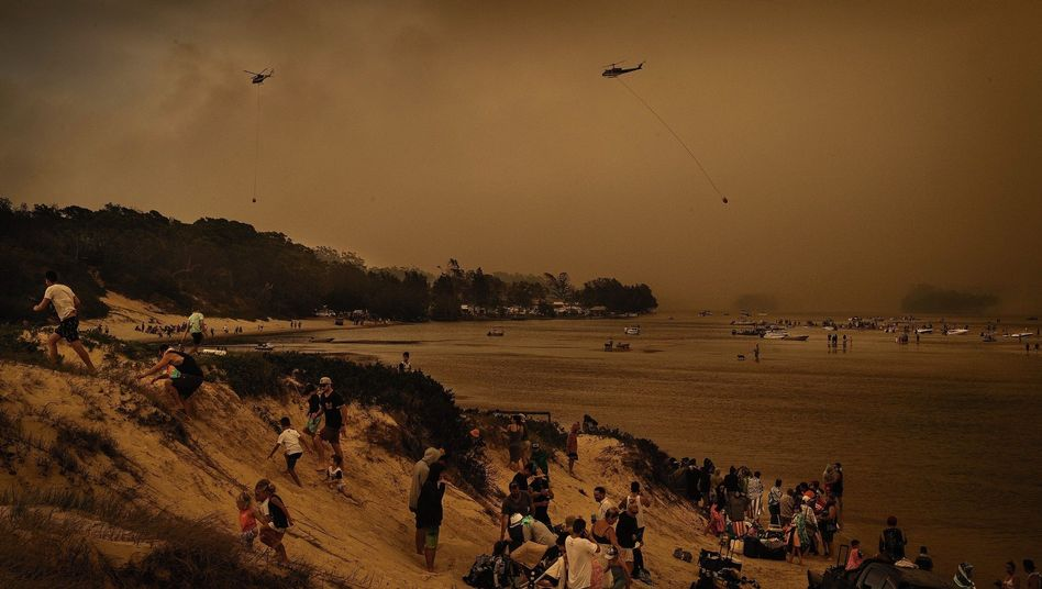 Tourists seeking to escape bush fires in the state of New South Wales.