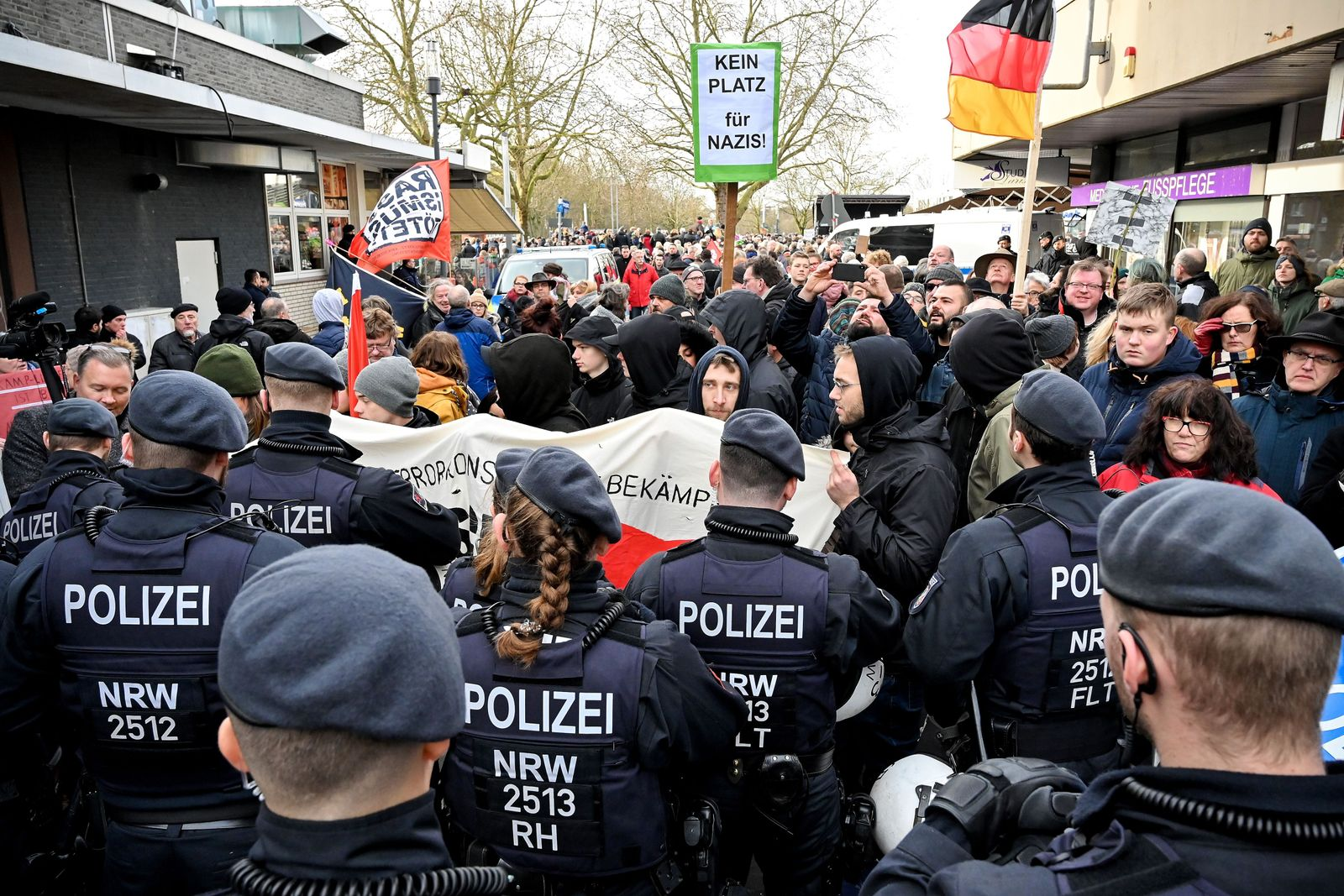 Far-right protest against fire-arms license for mayor, Kamp Lintfort, Germany - 11 Jan 2020