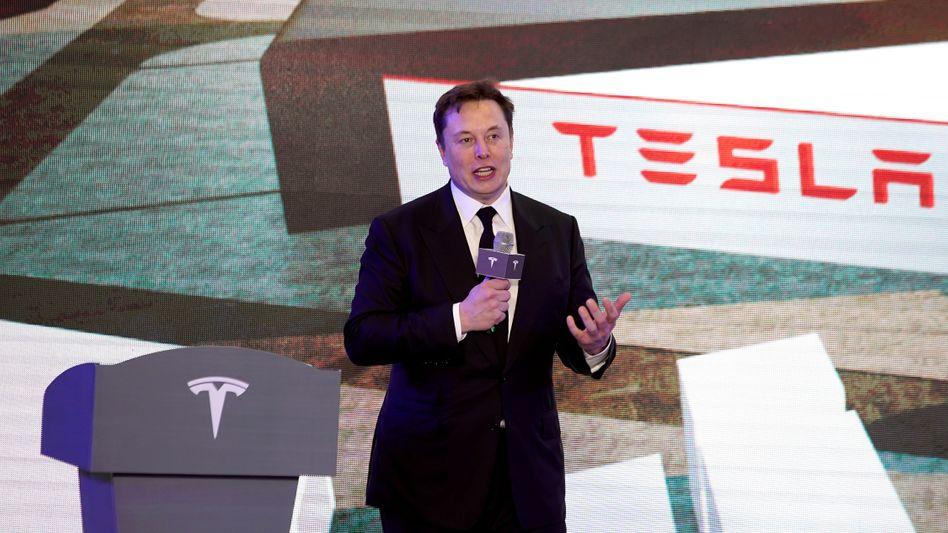 Tesla bei einer Veranstaltung in Shanghai im Januar 2020
