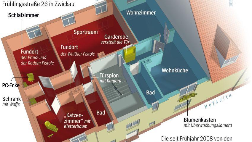 Grundriss der Wohnung der Zwickauer Zelle: Spießiges Leben im Untergrund