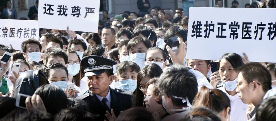Protestierende Krankenhausangestellte in der Provinz Zhejiang