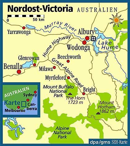 """""""Ned-Kelly-Country"""" im Nordosten Victorias: Bright ist Ausgangspunkt für Wander- und Klettertouren in den Nationalpark"""