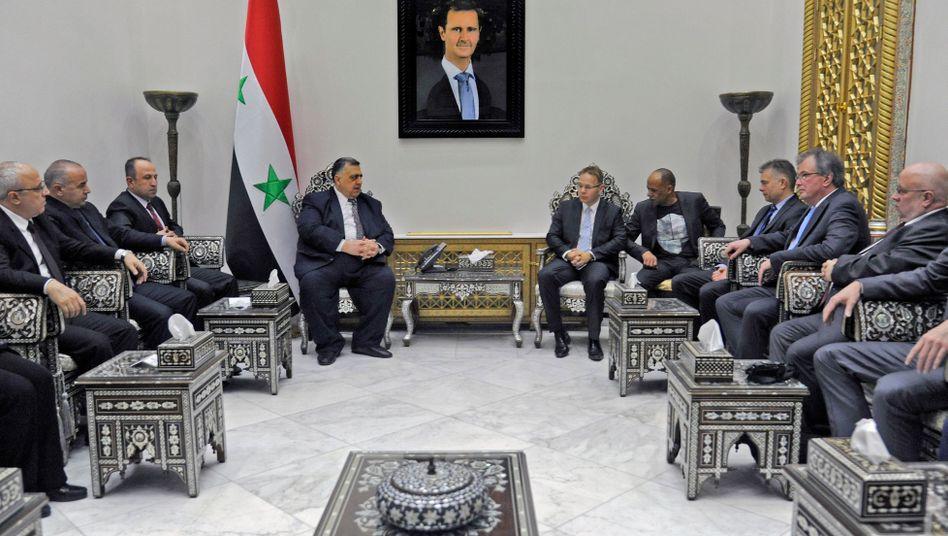 AfD-Politiker beim syrischen Parlamentspräsidenten Hammoudeh Sabbagh