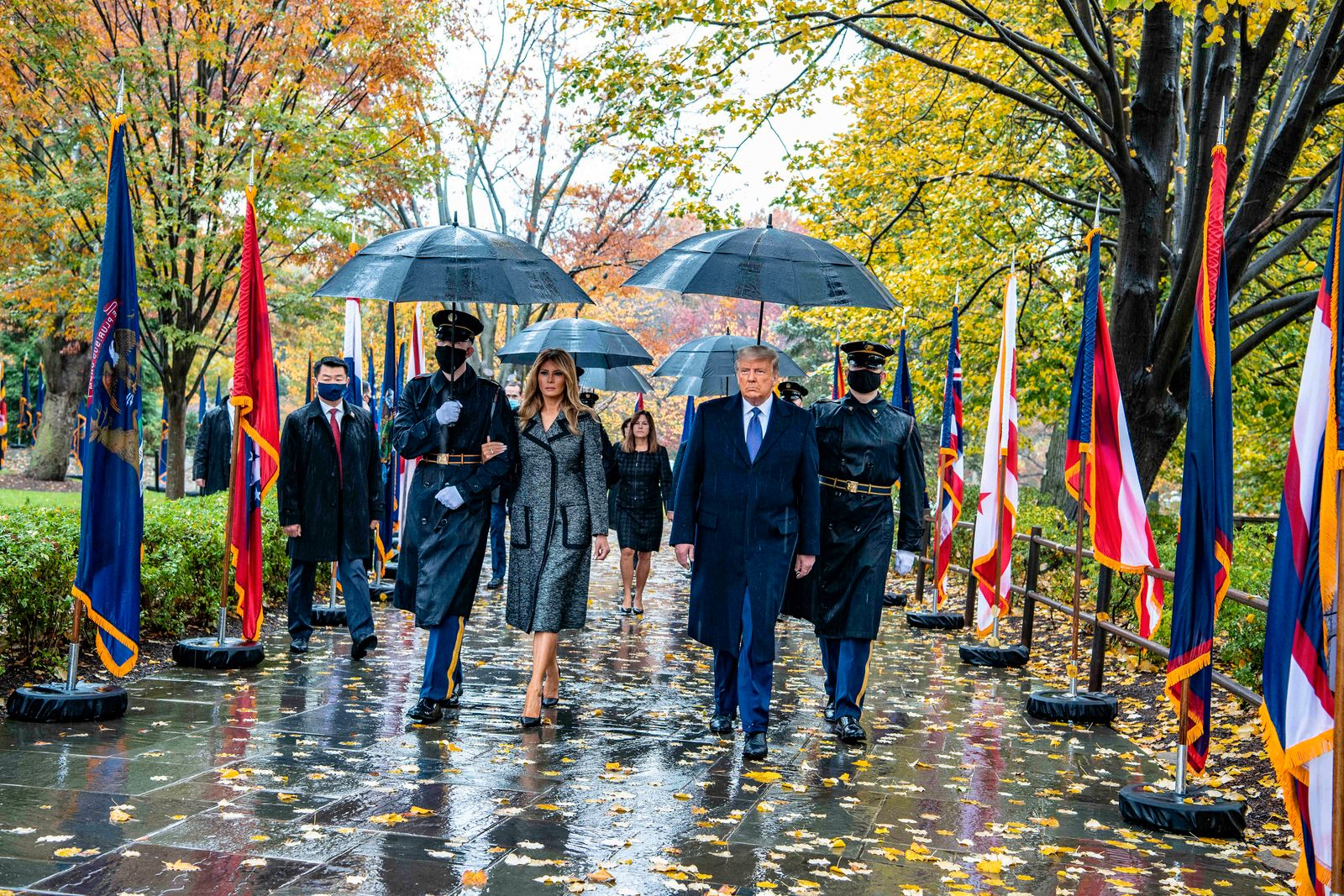 November 11, 2020, Arlington, VA, United States of America: U.S President Donald Trump, right, walks with First Lady Me