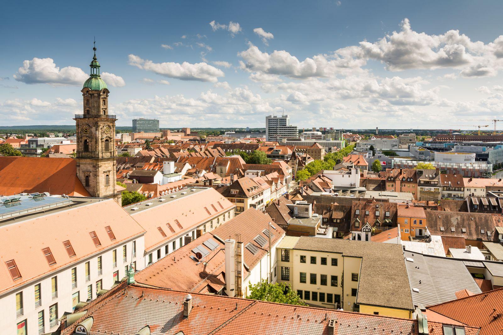 Aerial view over the city of Erlangen