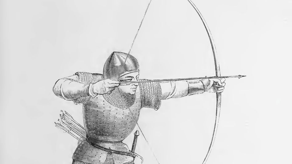 Weit: Der Englische Bogen galt als besonders tödlich (Zeichnung von 1874).