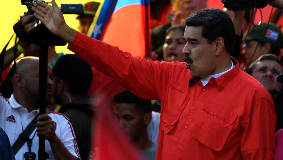 Nicolás Maduro bei einer Kundgebung in Caracas