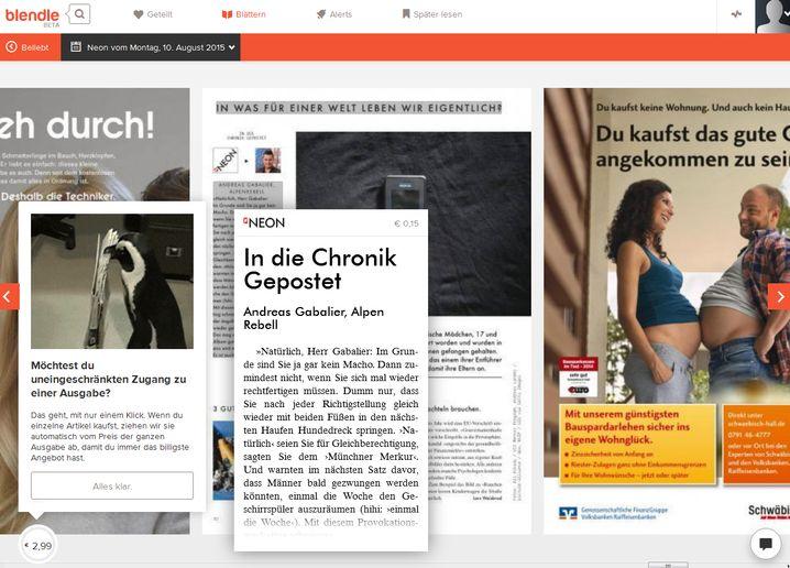 """Virtuelles Durchblättern der Zeitschrift """"Neon"""": Einige spezielle Inhalte wie etwa eine Grafik mit Entscheidungspfeilen kann man nicht einzeln kaufen"""