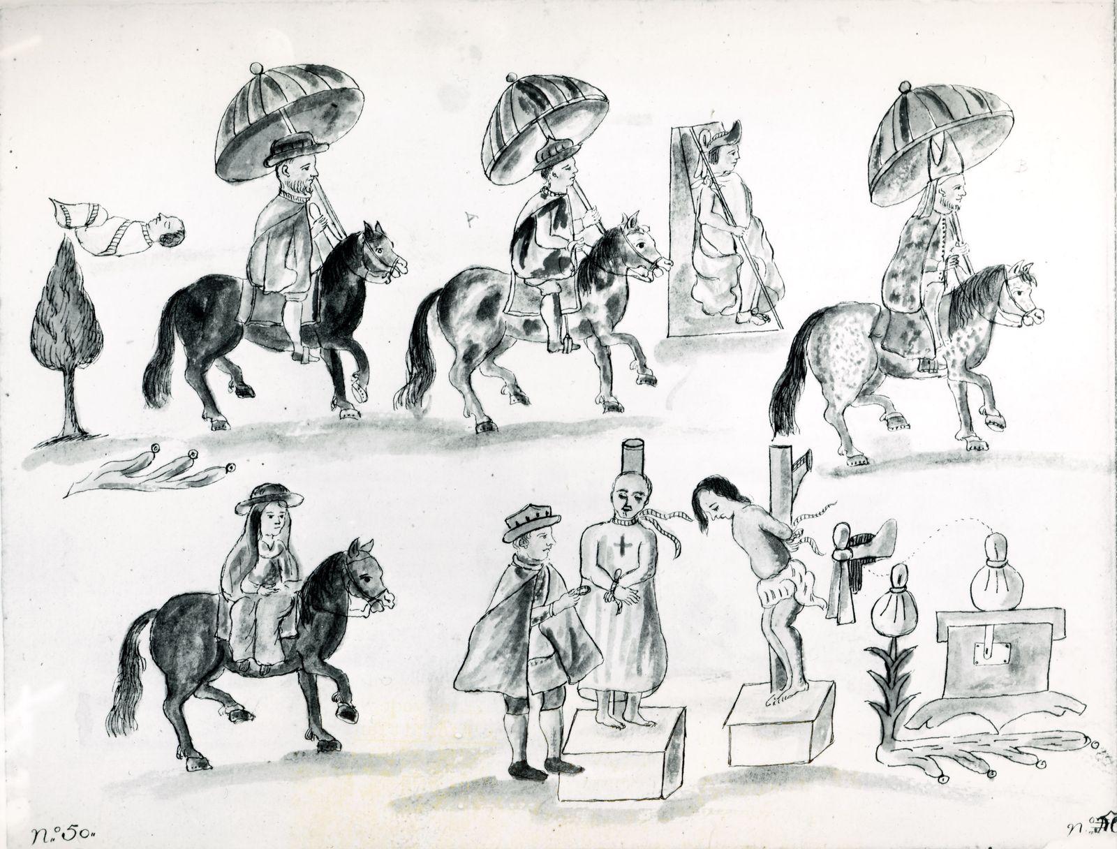 AZTEQUES Les indiens AZTEQUES: Arrivee du vice-roi Don Antonio de Mendoza en 1535, precede de Juan de Zumarraga, 1er arc