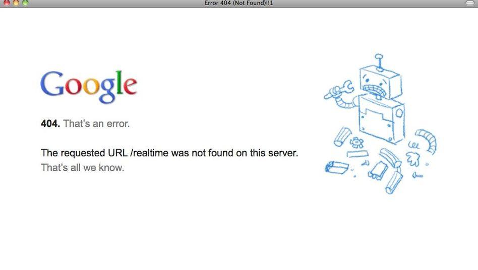 404-Fehlermeldung: Googles Realtime Search ist offline