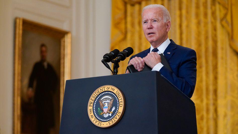 Biden bei einer Pressekonferenz im Weißen Haus
