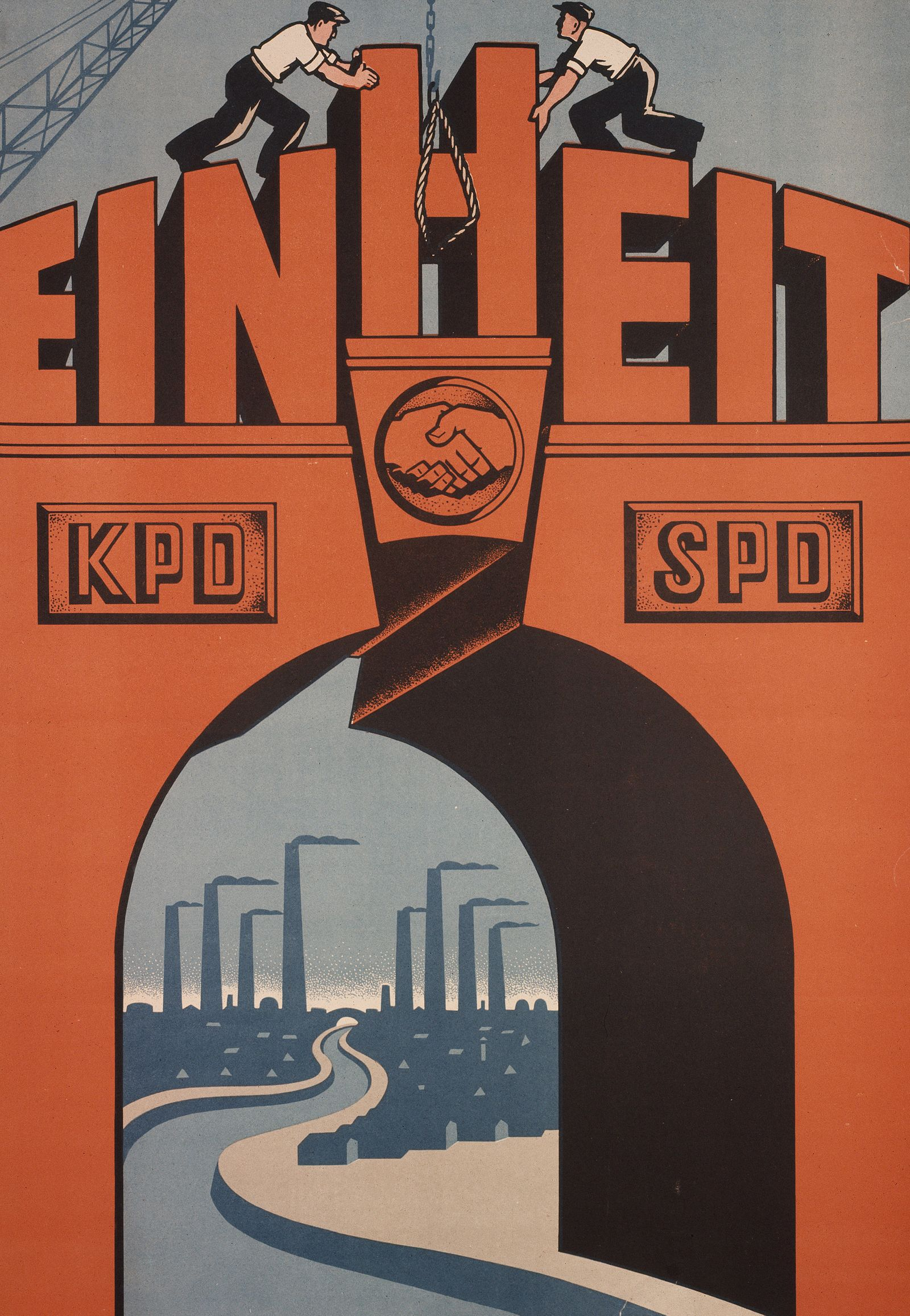 """""""Einheit"""" - Plakat f¸r den Zusammenschlufl von KPD und SPD"""