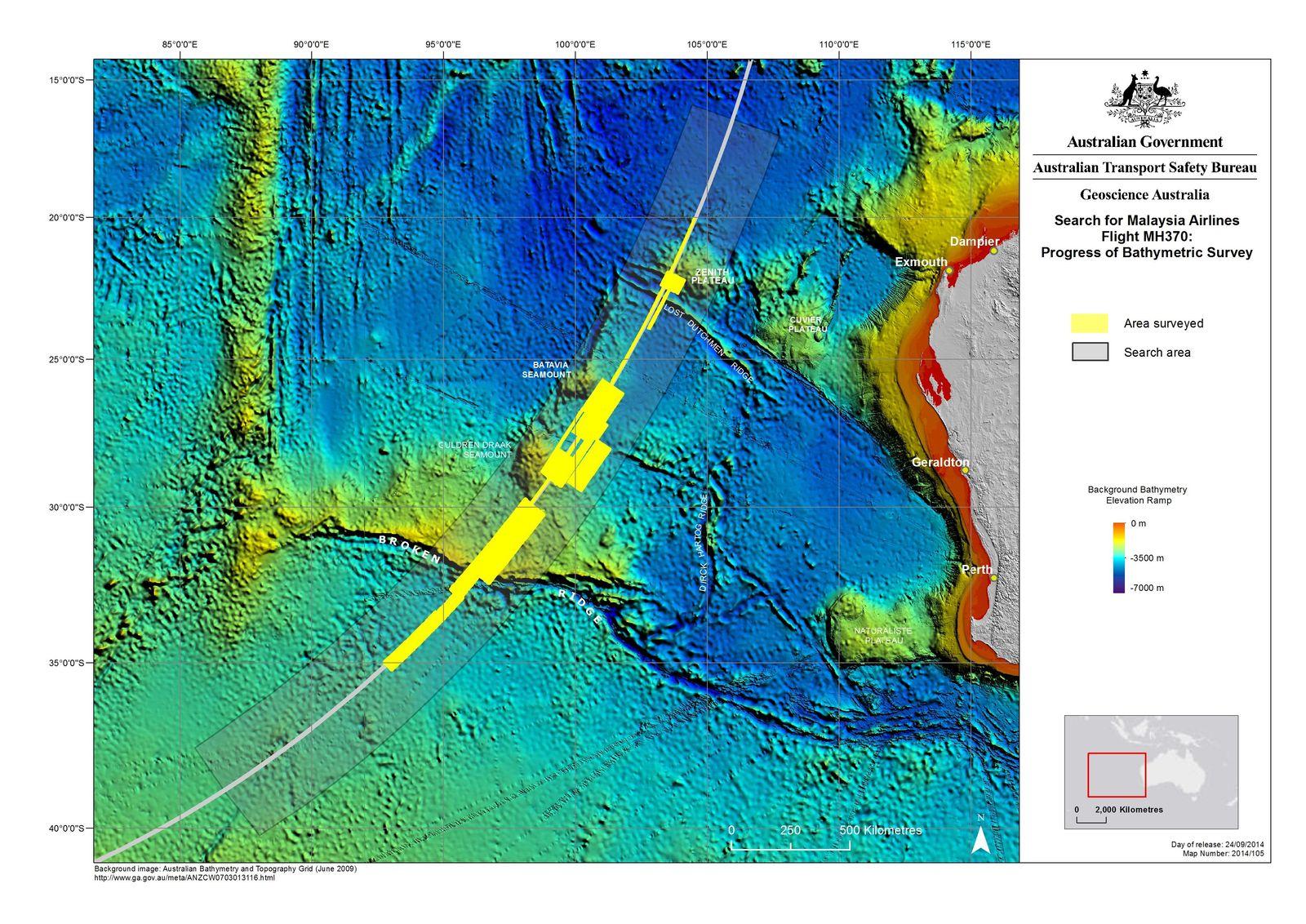 EINMALIGE VERWENDUNG Unterwasserkarten/ MH370