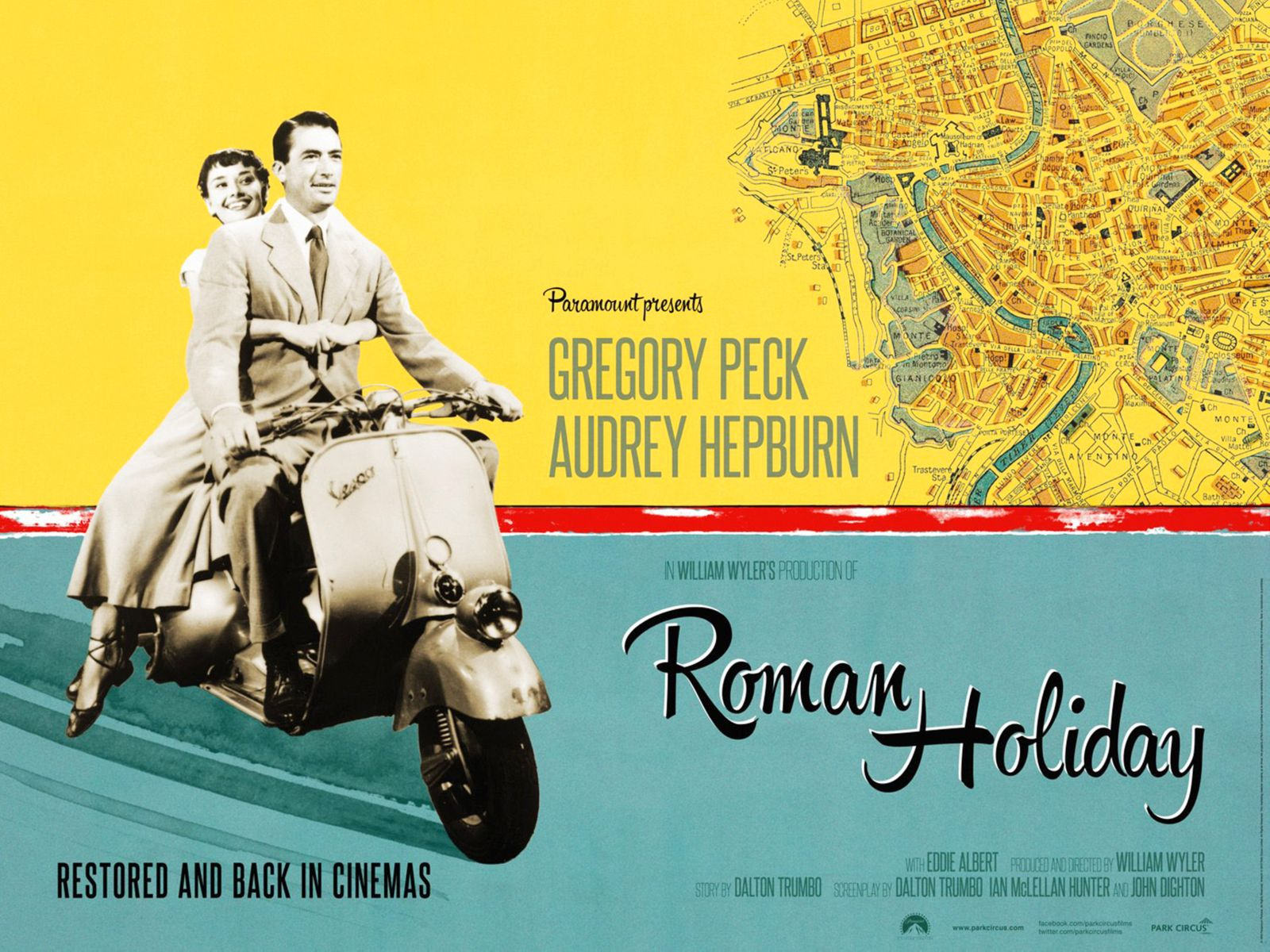 ROMAN HOLIDAY, British re-release poster art, from left: Audrey Hepburn, Gregory Peck, 1953