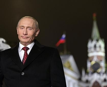 Russian President Vladimir Putin during the recording of his annual televised New Year's message at the Kremlin.