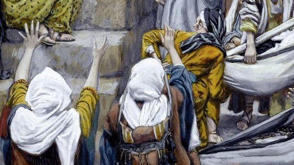 Die Menschen kommen zu Jesus, bringen Kranke und Kinder (Gemälde von James Tissot)