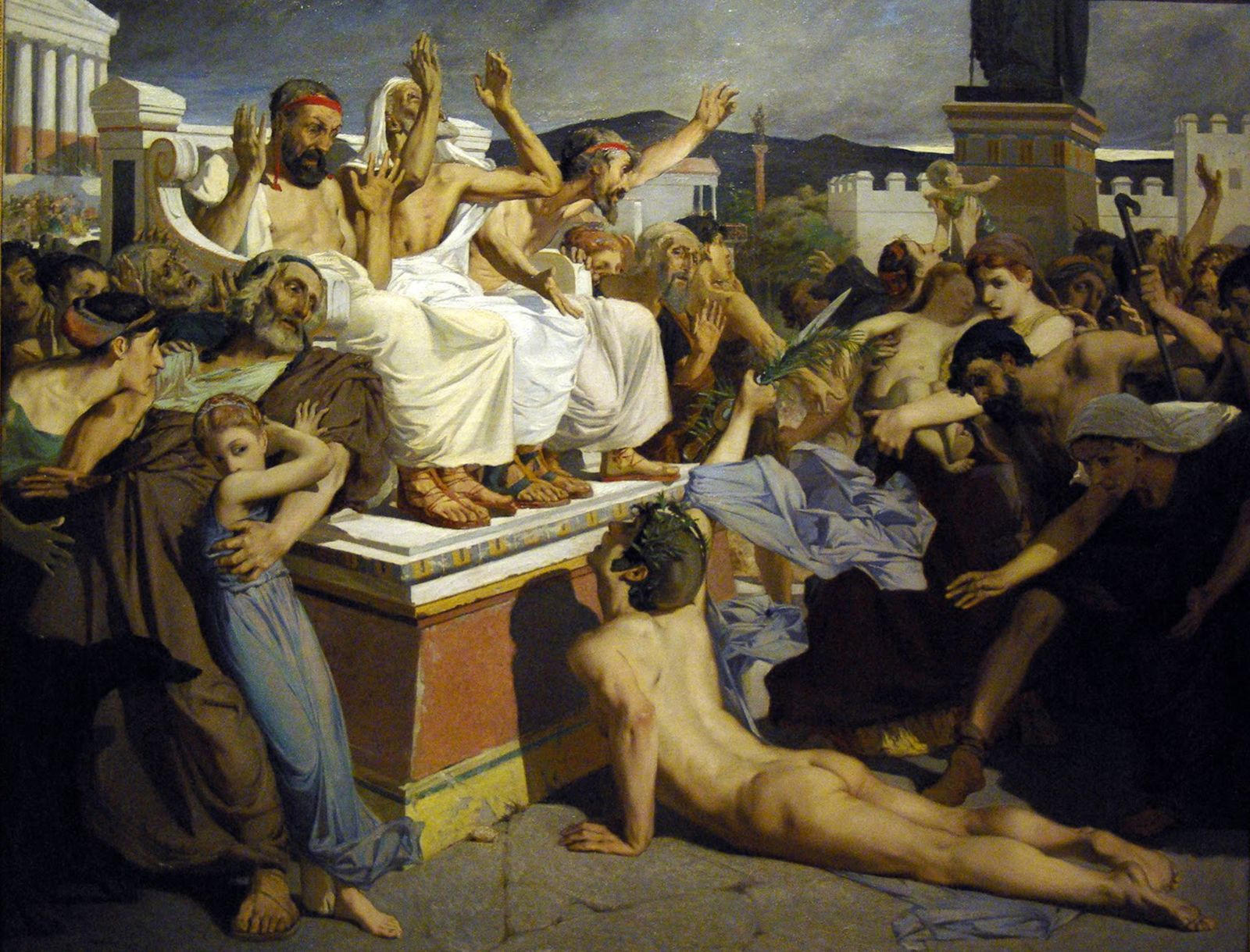 Pheidippides giving word of victory after the Battle of Marathon by Merson, Luc-Olivier (1846-1920)