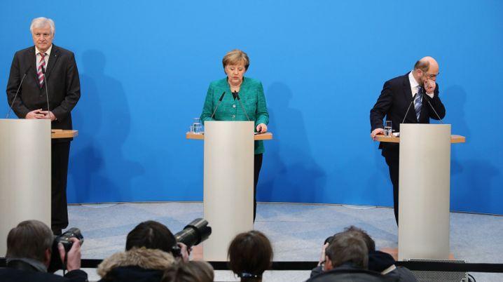 Horst Seehofer, Angela Merkel, Martin Schulz bei der gemeinsamen Pressekonferenz