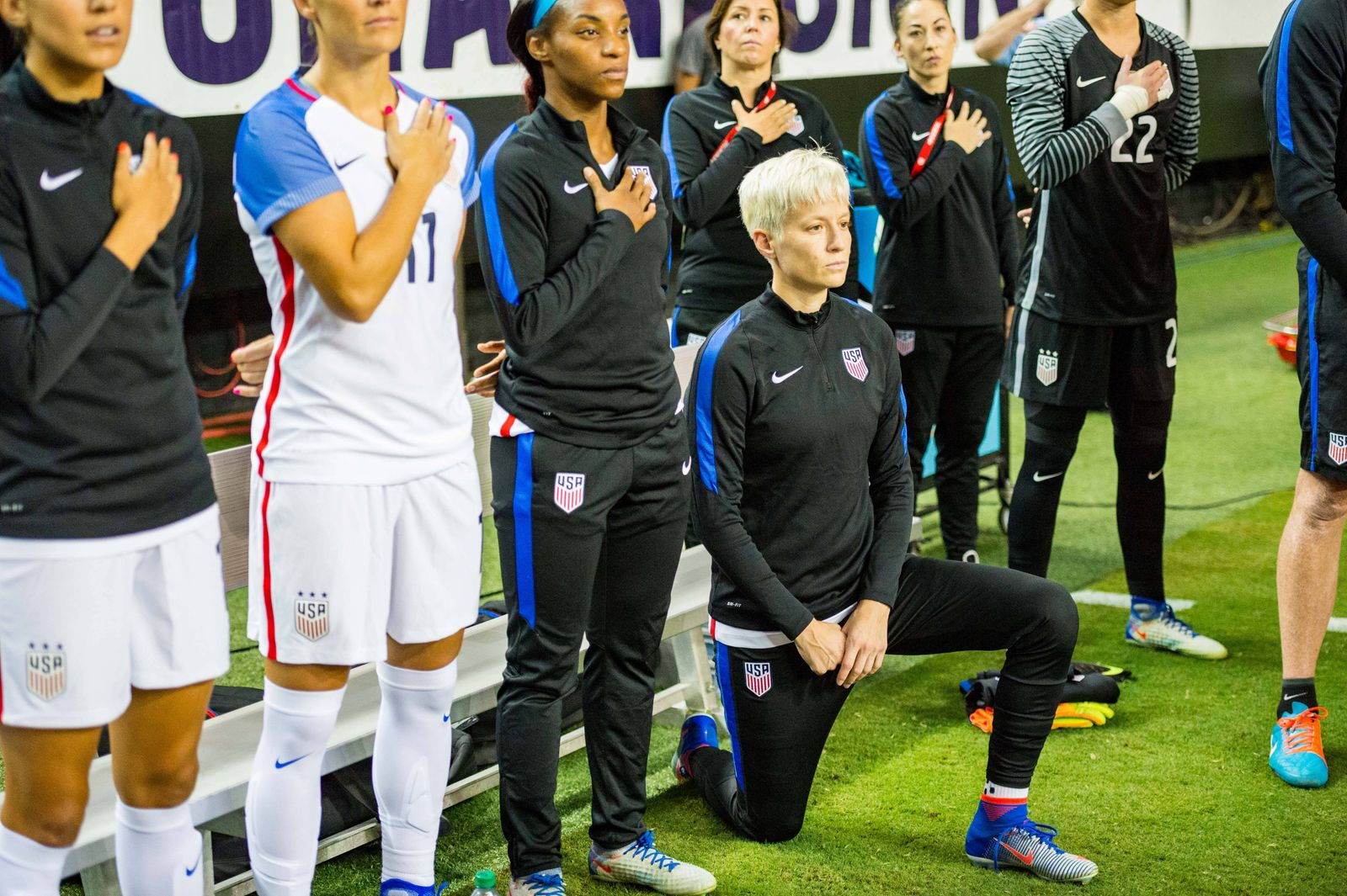 USWNT M Megan Rapinoe (15) kneels and does not stand during the National Anthem during the Women s I