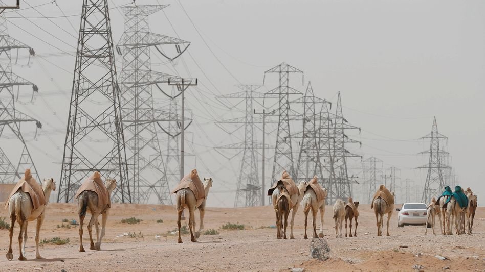 Stromnetz nahe Riad in Saudi-Arabien