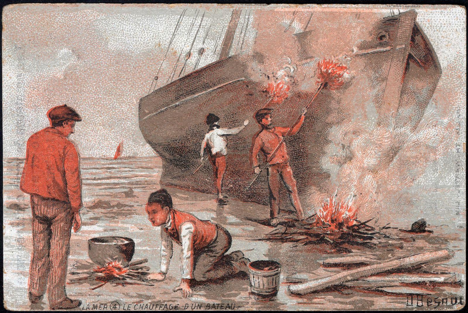 MARINE le chauffage d un bateau. Illustration vers 1910 par O. BESNOU pour un chromo publicitaire. Credit : Collection K