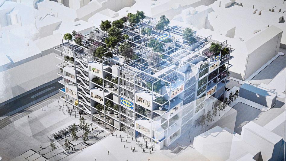 Ikea träumt von Dachbegrünung: Design für den neuesten autofreien Laden in Wien