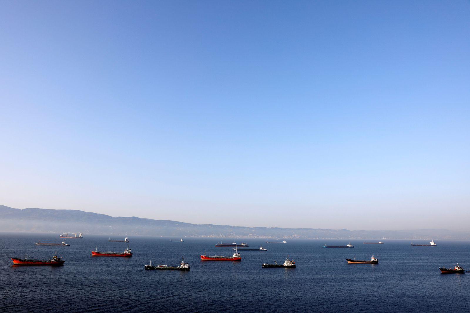 FILE PHOTO: FILE PHOTO: Oil tankers wait to dock at Tupras refinery near the northwestern Turkish city of Izmit