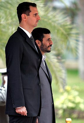 Iranian President Mahmoud Ahmadinejad (R) and his Syrian counterpart, Bashar Assad (L), in February 2007. Is Syria looking for new friends?
