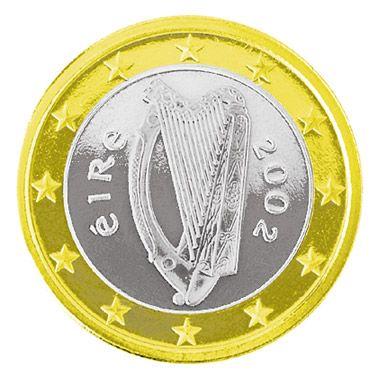 Zeigt eine Harfe auf der Rückseite: das irische Ein-Euro-Stück