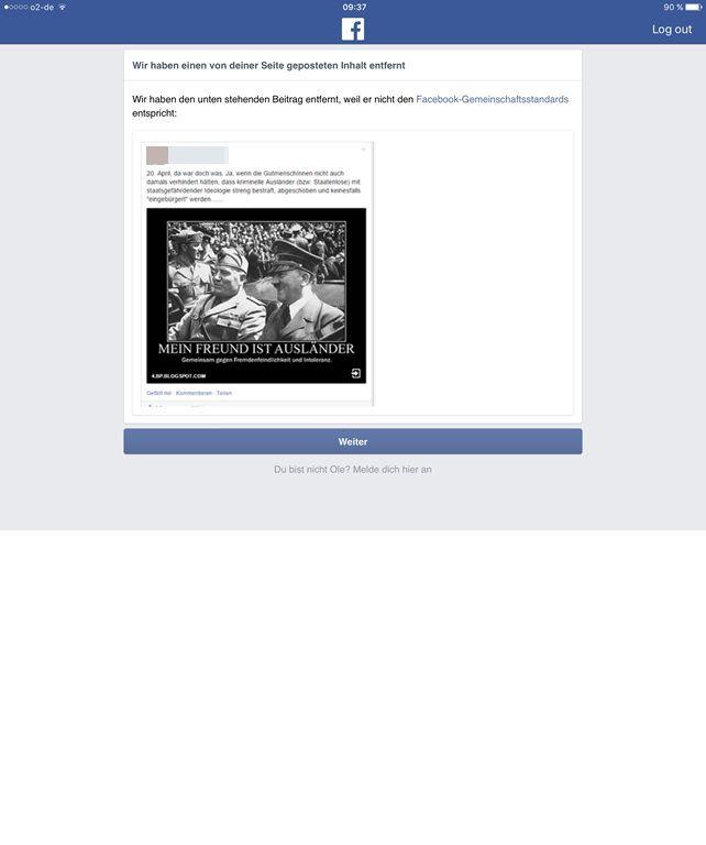 """""""Gegen die Alternative für Deutschland"""" dokumentiert einen NS-verherrlichenden Post - Facebook entfernt den Beitrag"""